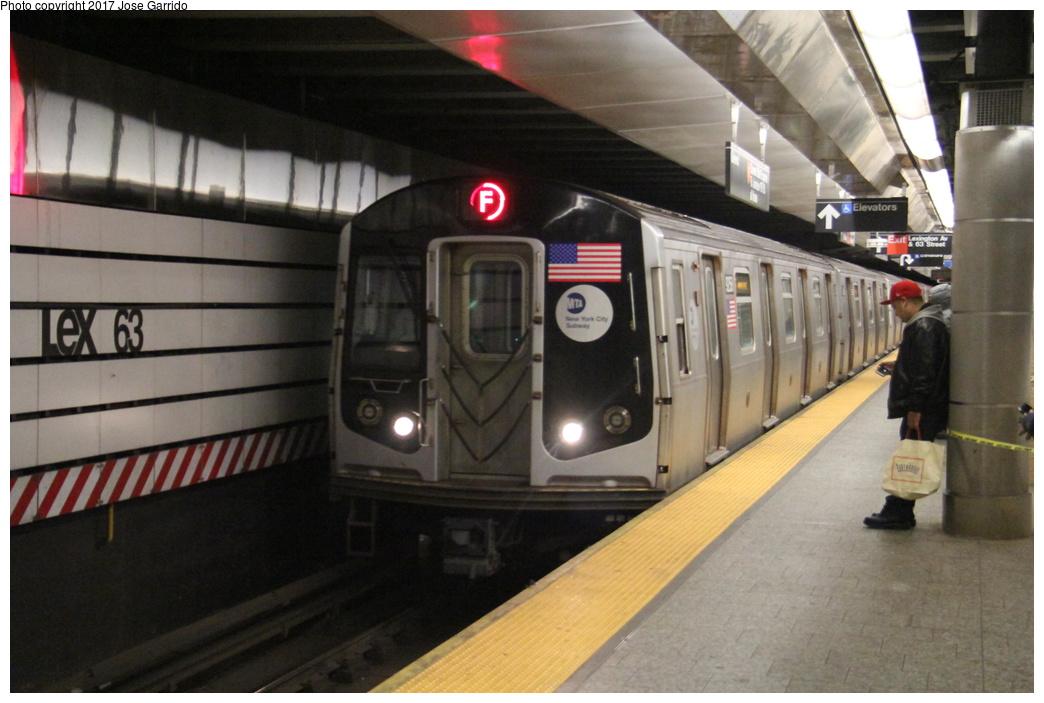 (268k, 1044x703)<br><b>Country:</b> United States<br><b>City:</b> New York<br><b>System:</b> New York City Transit<br><b>Line:</b> IND 63rd Street<br><b>Location:</b> Lexington Avenue-63rd Street <br><b>Route:</b> F<br><b>Car:</b> R-160A (Option 1) (Alstom, 2008-2009, 5 car sets)  9258 <br><b>Photo by:</b> Jose Garrido<br><b>Date:</b> 11/20/2016<br><b>Viewed (this week/total):</b> 1 / 554