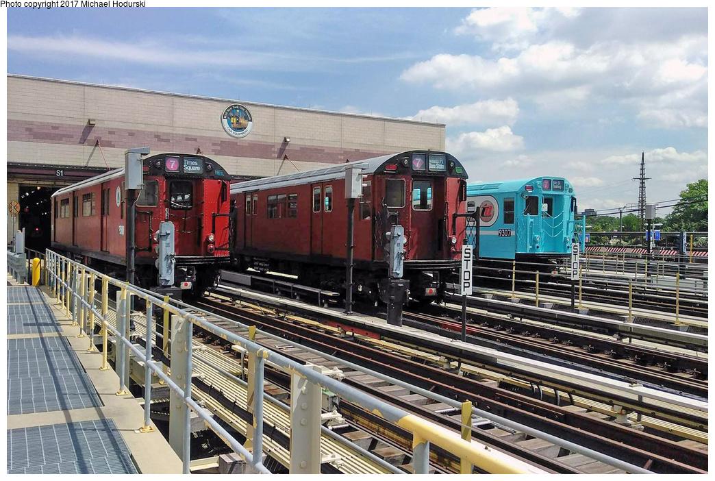 (404k, 1044x702)<br><b>Country:</b> United States<br><b>City:</b> New York<br><b>System:</b> New York City Transit<br><b>Location:</b> Corona Yard<br><b>Car:</b> R-33 World's Fair (St. Louis, 1963-64) 9310/9307 <br><b>Photo by:</b> Michael Hodurski<br><b>Date:</b> 8/19/2017<br><b>Notes:</b> With R36 9587 in between.<br><b>Viewed (this week/total):</b> 6 / 767