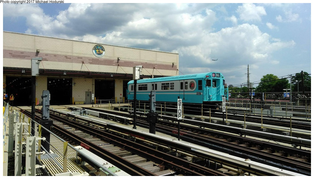 (275k, 1044x596)<br><b>Country:</b> United States<br><b>City:</b> New York<br><b>System:</b> New York City Transit<br><b>Location:</b> Corona Yard<br><b>Car:</b> R-33 World's Fair (St. Louis, 1963-64) 9307 <br><b>Photo by:</b> Michael Hodurski<br><b>Date:</b> 8/19/2017<br><b>Notes:</b> Newly painted 9307 in replica World's Fair livery.<br><b>Viewed (this week/total):</b> 3 / 658