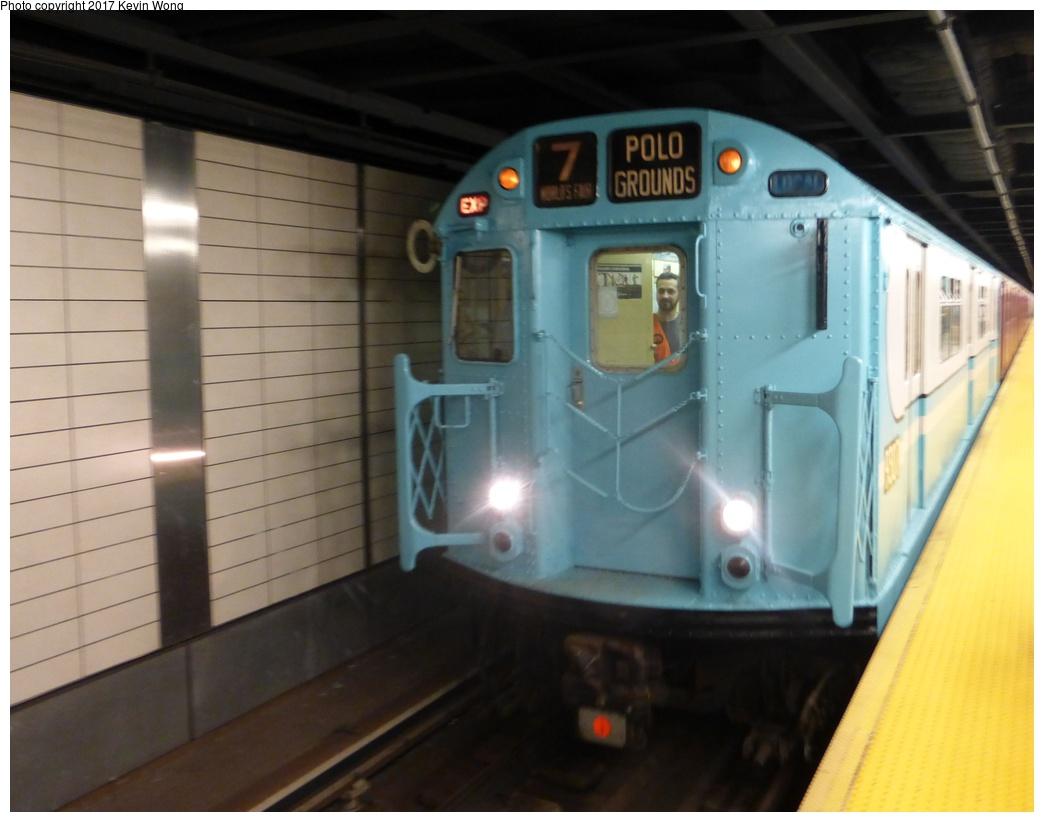 (235k, 1044x822)<br><b>Country:</b> United States<br><b>City:</b> New York<br><b>System:</b> New York City Transit<br><b>Line:</b> IRT Flushing Line<br><b>Location:</b> 34th Street-Hudson Yards <br><b>Route:</b> Museum Train Service<br><b>Car:</b> R-33 World's Fair (St. Louis, 1963-64) 9307 <br><b>Photo by:</b> Kevin Wong<br><b>Date:</b> 8/19/2017<br><b>Viewed (this week/total):</b> 1 / 1153