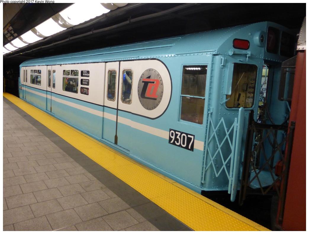 (278k, 1044x792)<br><b>Country:</b> United States<br><b>City:</b> New York<br><b>System:</b> New York City Transit<br><b>Line:</b> IRT Flushing Line<br><b>Location:</b> 34th Street-Hudson Yards <br><b>Route:</b> Museum Train Service<br><b>Car:</b> R-33 World's Fair (St. Louis, 1963-64) 9307 <br><b>Photo by:</b> Kevin Wong<br><b>Date:</b> 8/19/2017<br><b>Viewed (this week/total):</b> 0 / 911