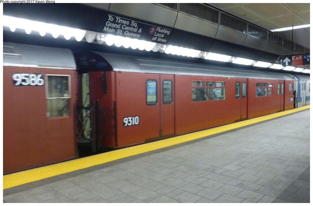(224k, 1044x686)<br><b>Country:</b> United States<br><b>City:</b> New York<br><b>System:</b> New York City Transit<br><b>Line:</b> IRT Flushing Line<br><b>Location:</b> 34th Street-Hudson Yards <br><b>Route:</b> Museum Train Service<br><b>Car:</b> R-33 World's Fair (St. Louis, 1963-64) 9310 <br><b>Photo by:</b> Kevin Wong<br><b>Date:</b> 8/19/2017<br><b>Viewed (this week/total):</b> 0 / 779