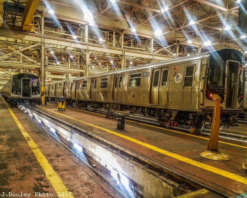 (506k, 1024x820)<br><b>Country:</b> United States<br><b>City:</b> New York<br><b>System:</b> New York City Transit<br><b>Location:</b> Coney Island Shop/Overhaul & Repair Shop<br><b>Car:</b> R-160A (Option 2) (Alstom, 2009, 5-car sets)  9638 <br><b>Photo by:</b> John Dooley<br><b>Date:</b> 5/7/2017<br><b>Viewed (this week/total):</b> 1 / 559