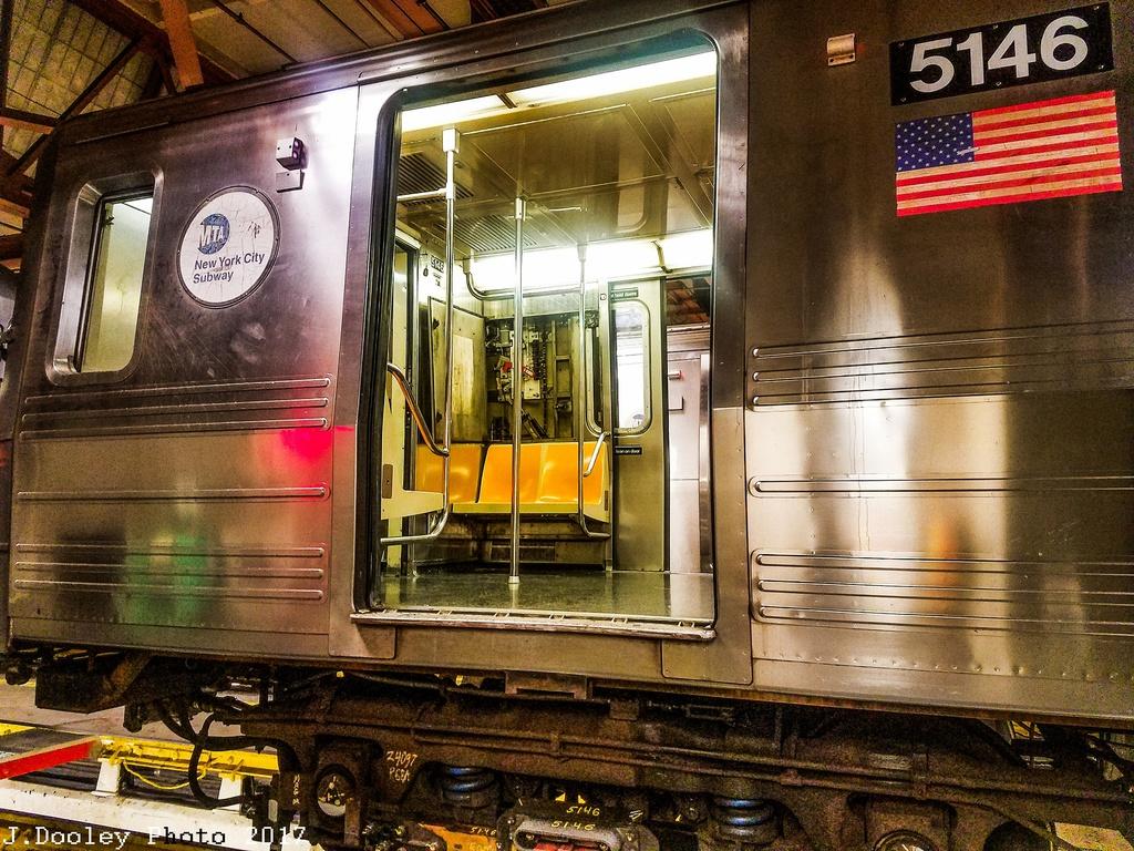 (417k, 1024x768)<br><b>Country:</b> United States<br><b>City:</b> New York<br><b>System:</b> New York City Transit<br><b>Location:</b> Coney Island Shop/Overhaul & Repair Shop<br><b>Car:</b> R-46 (Pullman-Standard, 1974-75) 5146 <br><b>Photo by:</b> John Dooley<br><b>Date:</b> 5/7/2017<br><b>Viewed (this week/total):</b> 4 / 889