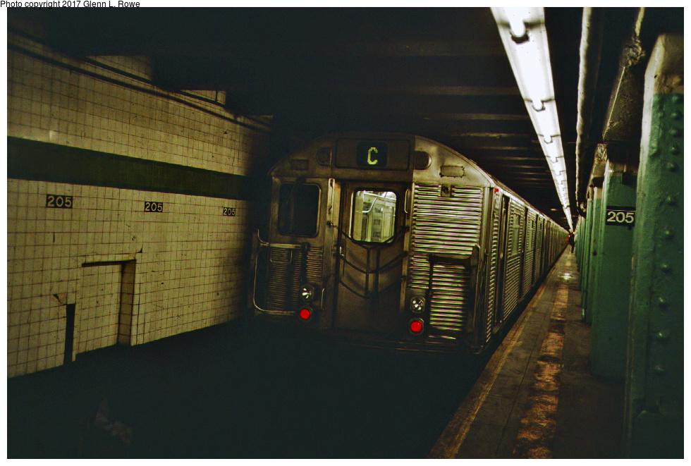 (364k, 980x661)<br><b>Country:</b> United States<br><b>City:</b> New York<br><b>System:</b> New York City Transit<br><b>Line:</b> IND Concourse Line<br><b>Location:</b> 205th Street<br><b>Route:</b> C<br><b>Car:</b> R-32 (GE Rebuild) 3595 <br><b>Photo by:</b> Glenn L. Rowe<br><b>Date:</b> 5/31/1990<br><b>Viewed (this week/total):</b> 0 / 1698