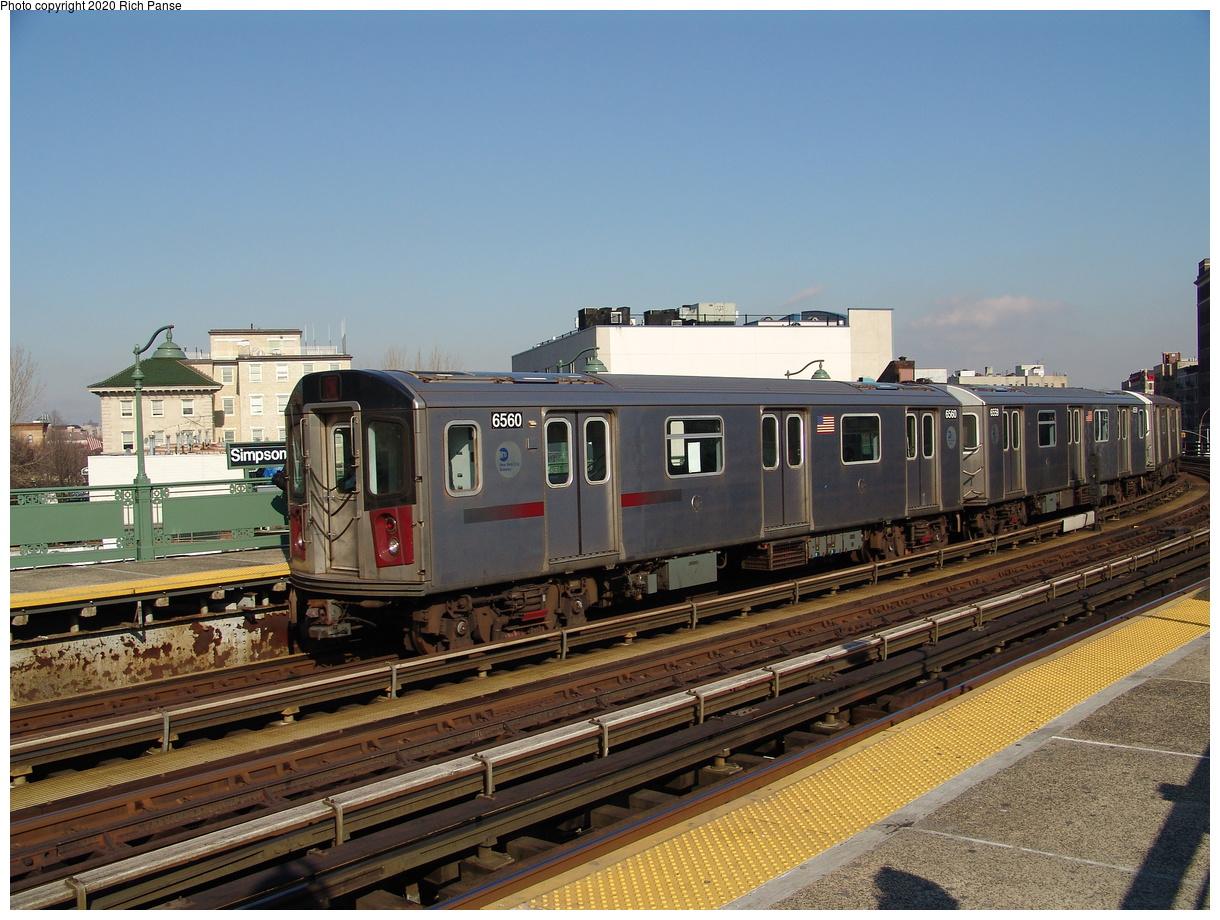 (458k, 1220x920)<br><b>Country:</b> United States<br><b>City:</b> New York<br><b>System:</b> New York City Transit<br><b>Line:</b> IRT White Plains Road Line<br><b>Location:</b> Simpson Street<br><b>Route:</b> 2<br><b>Car:</b> R-142 (Primary Order, Bombardier, 1999-2002) 6560 <br><b>Photo by:</b> Richard Panse<br><b>Date:</b> 1/24/2006<br><b>Viewed (this week/total):</b> 2 / 40