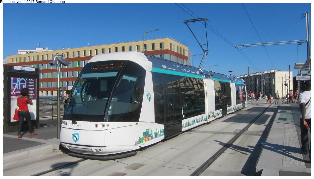 (230k, 1044x594)<br><b>Country:</b> France<br><b>City:</b> Paris<br><b>System:</b> RATP (Régie Autonome des Transports Parisiens)<br><b>Line:</b> Tram T5 <br><b>Location:</b> Garges - Sarcelles <br><b>Car:</b> RATP Translohr STE3 (Lohr, 2013) 513 <br><b>Photo by:</b> Bernard Chatreau<br><b>Date:</b> 8/1/2013<br><b>Viewed (this week/total):</b> 0 / 41