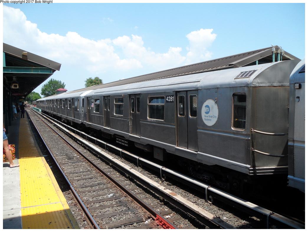 (341k, 1044x788)<br><b>Country:</b> United States<br><b>City:</b> New York<br><b>System:</b> New York City Transit<br><b>Line:</b> BMT Brighton Line<br><b>Location:</b> Kings Highway <br><b>Route:</b> Museum Train Service<br><b>Car:</b> R-40 (St. Louis, 1968)  4281 <br><b>Photo by:</b> Bob Wright<br><b>Date:</b> 6/25/2016<br><b>Viewed (this week/total):</b> 1 / 413
