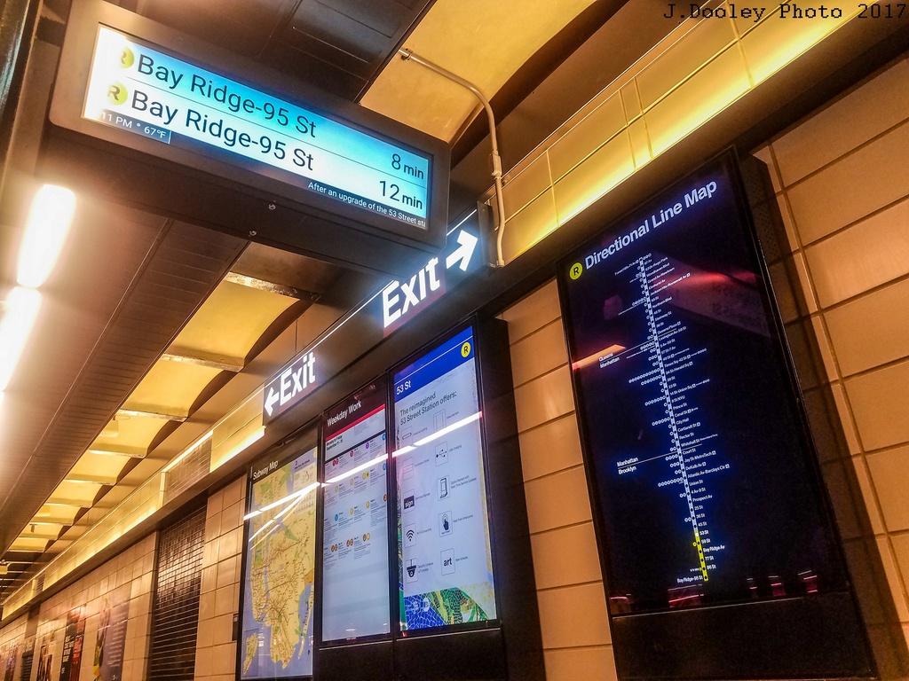 (319k, 1024x768)<br><b>Country:</b> United States<br><b>City:</b> New York<br><b>System:</b> New York City Transit<br><b>Line:</b> BMT 4th Avenue<br><b>Location:</b> 53rd Street <br><b>Photo by:</b> John Dooley<br><b>Date:</b> 9/11/2017<br><b>Notes:</b> Modernized station renovations.<br><b>Viewed (this week/total):</b> 1 / 583