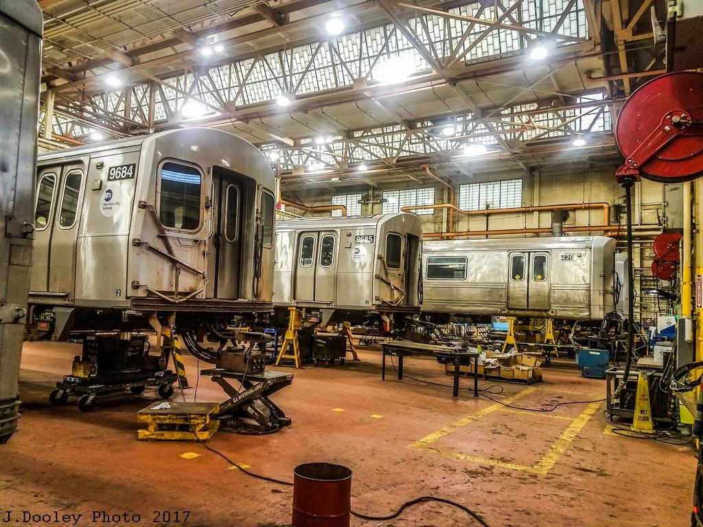 (446k, 1024x768)<br><b>Country:</b> United States<br><b>City:</b> New York<br><b>System:</b> New York City Transit<br><b>Location:</b> Coney Island Shop/Overhaul & Repair Shop<br><b>Car:</b> R-160A (Option 2) (Alstom, 2009, 5-car sets)  9684/9685 <br><b>Photo by:</b> John Dooley<br><b>Date:</b> 5/5/2017<br><b>Notes:</b> With SIRT R-44 420<br><b>Viewed (this week/total):</b> 0 / 566