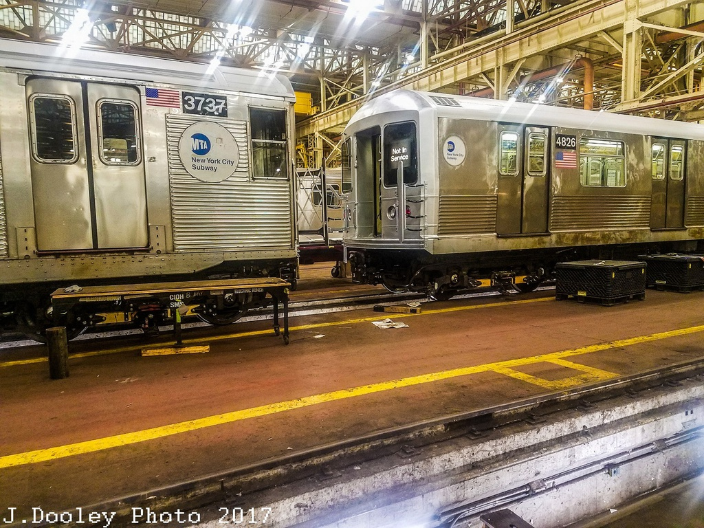 (429k, 1024x768)<br><b>Country:</b> United States<br><b>City:</b> New York<br><b>System:</b> New York City Transit<br><b>Location:</b> Coney Island Shop/Overhaul & Repair Shop<br><b>Car:</b> R-32 (Budd, 1964)  3737 <br><b>Photo by:</b> John Dooley<br><b>Date:</b> 5/5/2017<br><b>Notes:</b> With R-42 4826<br><b>Viewed (this week/total):</b> 2 / 656
