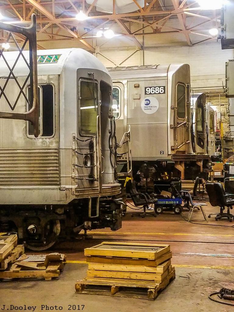 (364k, 768x1025)<br><b>Country:</b> United States<br><b>City:</b> New York<br><b>System:</b> New York City Transit<br><b>Location:</b> Coney Island Shop/Overhaul & Repair Shop<br><b>Car:</b> R-160A (Option 2) (Alstom, 2009, 5-car sets)  9686 <br><b>Photo by:</b> John Dooley<br><b>Date:</b> 5/5/2017<br><b>Notes:</b> With an R-42<br><b>Viewed (this week/total):</b> 2 / 493