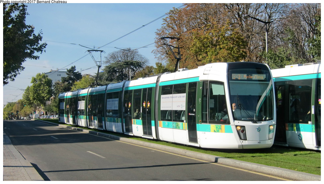 (301k, 1044x595)<br><b>Country:</b> France<br><b>City:</b> Paris<br><b>System:</b> RATP (Régie Autonome des Transports Parisiens)<br><b>Line:</b> Tram T3A<br><b>Location:</b> Cité Universitaire<br><b>Car:</b> Citadis Low-Floor Type 402 (Alstom, 2006) 301 <br><b>Photo by:</b> Bernard Chatreau<br><b>Date:</b> 10/18/2010<br><b>Viewed (this week/total):</b> 0 / 36