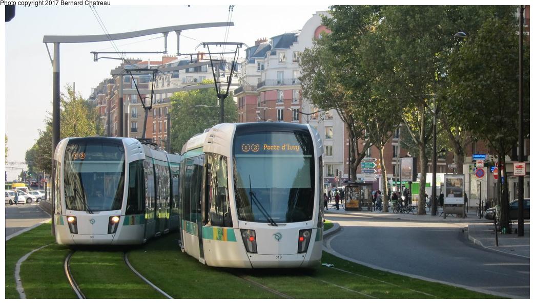 (280k, 1044x594)<br><b>Country:</b> France<br><b>City:</b> Paris<br><b>System:</b> RATP (Régie Autonome des Transports Parisiens)<br><b>Line:</b> Tram T3A<br><b>Location:</b> Between Porte d'Orléans and Jean Moulin<br><b>Car:</b> Citadis Low-Floor Type 402 (Alstom, 2006) 301/319 <br><b>Photo by:</b> Bernard Chatreau<br><b>Date:</b> 10/18/2010<br><b>Viewed (this week/total):</b> 0 / 137