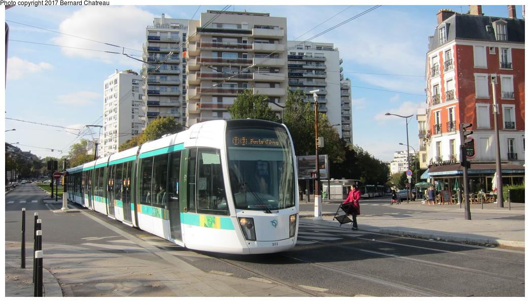 (281k, 1044x595)<br><b>Country:</b> France<br><b>City:</b> Paris<br><b>System:</b> RATP (Régie Autonome des Transports Parisiens)<br><b>Line:</b> Tram T3A<br><b>Location:</b> Stade Charléty/Porte de Gentilly<br><b>Car:</b> Citadis Low-Floor Type 402 (Alstom, 2006) 302 <br><b>Photo by:</b> Bernard Chatreau<br><b>Date:</b> 10/18/2010<br><b>Viewed (this week/total):</b> 0 / 76
