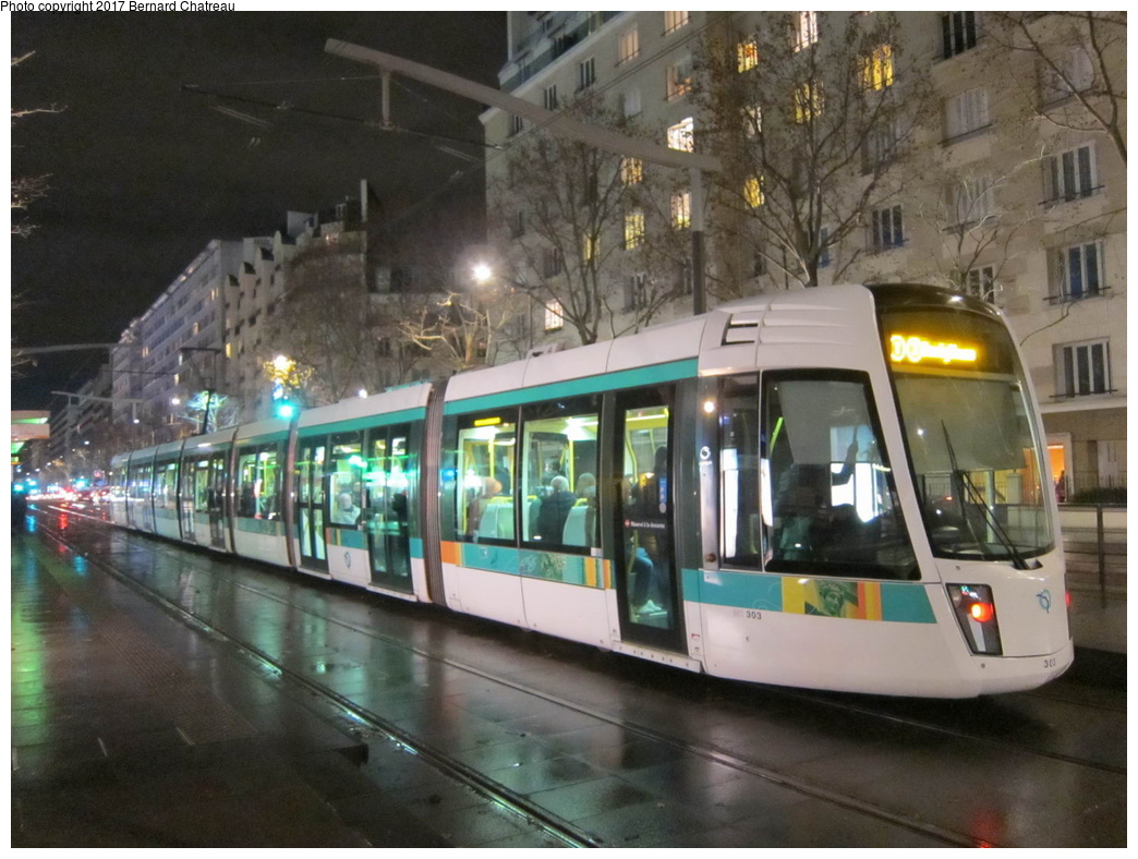 (308k, 1044x788)<br><b>Country:</b> France<br><b>City:</b> Paris<br><b>System:</b> RATP (Régie Autonome des Transports Parisiens)<br><b>Line:</b> Tram T3A <br><b>Location:</b> Brancion <br><b>Car:</b> Citadis Low-Floor Type 402 (Alstom, 2006)  303 <br><b>Photo by:</b> Bernard Chatreau<br><b>Date:</b> 12/3/2011<br><b>Viewed (this week/total):</b> 1 / 87