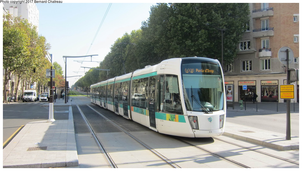 (280k, 1044x594)<br><b>Country:</b> France<br><b>City:</b> Paris<br><b>System:</b> RATP (Régie Autonome des Transports Parisiens)<br><b>Line:</b> Tram T3A<br><b>Location:</b> Didot<br><b>Car:</b> Citadis Low-Floor Type 402 (Alstom, 2006) 314 <br><b>Photo by:</b> Bernard Chatreau<br><b>Date:</b> 10/18/2010<br><b>Viewed (this week/total):</b> 0 / 78