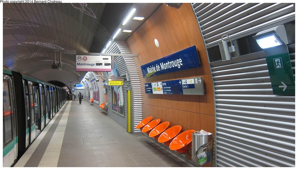 (269k, 1044x595)<br><b>Country:</b> France<br><b>City:</b> Paris<br><b>System:</b> RATP (Régie Autonome des Transports Parisiens)<br><b>Line:</b> Metro Ligne 4<br><b>Location:</b> Mairie de Montrouge <br><b>Photo by:</b> Bernard Chatreau<br><b>Date:</b> 3/26/2013<br><b>Viewed (this week/total):</b> 1 / 112
