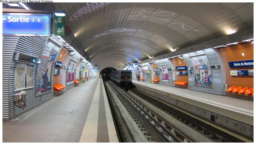 (260k, 1044x594)<br><b>Country:</b> France<br><b>City:</b> Paris<br><b>System:</b> RATP (Régie Autonome des Transports Parisiens)<br><b>Line:</b> Metro Ligne 4<br><b>Location:</b> Mairie de Montrouge <br><b>Photo by:</b> Bernard Chatreau<br><b>Date:</b> 3/26/2013<br><b>Viewed (this week/total):</b> 2 / 98