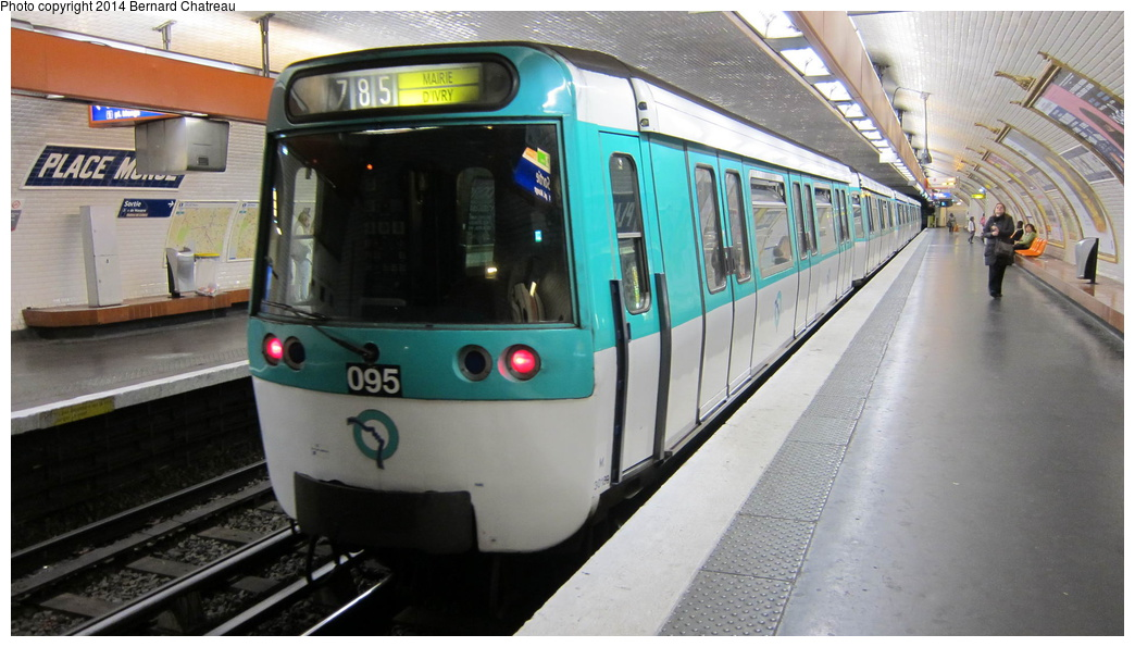 (249k, 1044x595)<br><b>Country:</b> France<br><b>City:</b> Paris<br><b>System:</b> RATP (Régie Autonome des Transports Parisiens)<br><b>Line:</b> Metro Ligne 7<br><b>Location:</b> Place Monge<br><b>Car:</b> MF77 M30189 Rame 095 <br><b>Photo by:</b> Bernard Chatreau<br><b>Date:</b> 10/18/2011<br><b>Viewed (this week/total):</b> 0 / 160