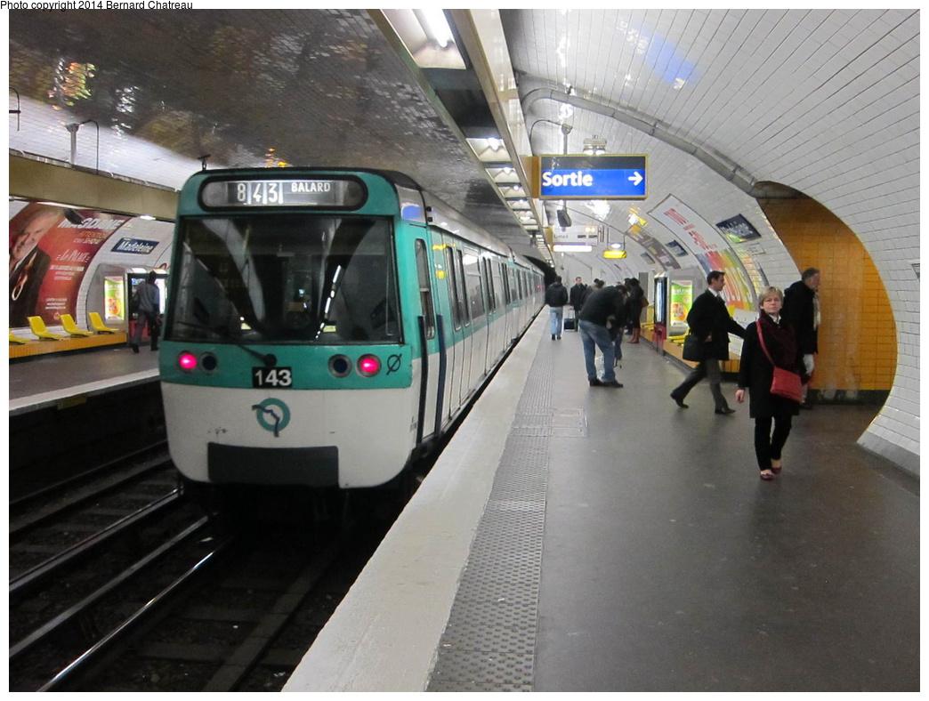 (297k, 1044x788)<br><b>Country:</b> France<br><b>City:</b> Paris<br><b>System:</b> RATP (Régie Autonome des Transports Parisiens)<br><b>Line:</b> Metro Ligne 8<br><b>Location:</b> Madeleine<br><b>Car:</b> MF77 M30286 Rame 143 <br><b>Photo by:</b> Bernard Chatreau<br><b>Date:</b> 1/13/2012<br><b>Viewed (this week/total):</b> 0 / 167