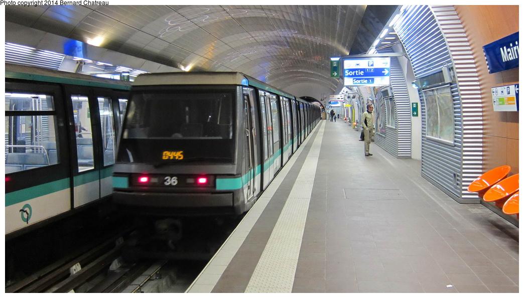 (259k, 1044x594)<br><b>Country:</b> France<br><b>City:</b> Paris<br><b>System:</b> RATP (Régie Autonome des Transports Parisiens)<br><b>Line:</b> Metro Ligne 4<br><b>Location:</b> Mairie de Montrouge <br><b>Car:</b> MP89 S072 Rame 36 <br><b>Photo by:</b> Bernard Chatreau<br><b>Date:</b> 3/26/2013<br><b>Viewed (this week/total):</b> 0 / 134