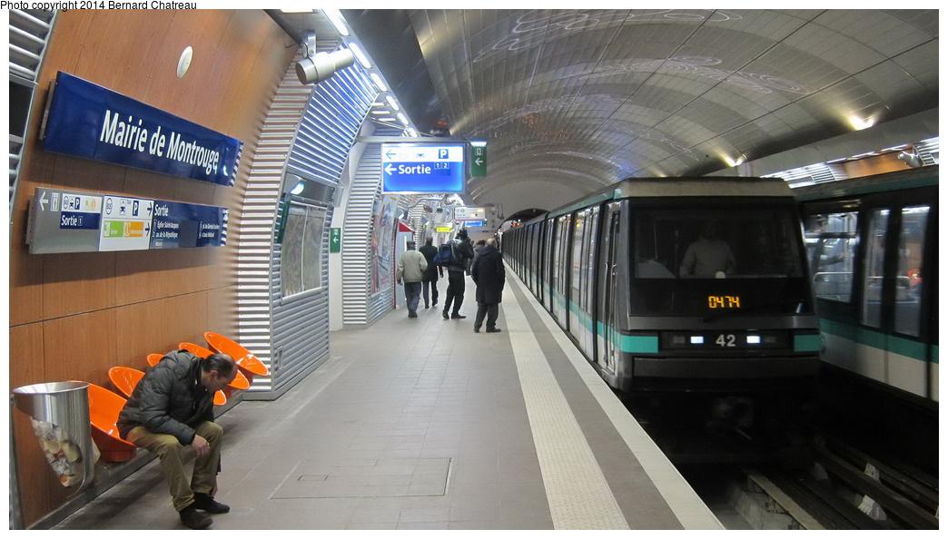 (250k, 1044x594)<br><b>Country:</b> France<br><b>City:</b> Paris<br><b>System:</b> RATP (Régie Autonome des Transports Parisiens)<br><b>Line:</b> Metro Ligne 4<br><b>Location:</b> Mairie de Montrouge <br><b>Car:</b> MP89 S083 Rame 42 <br><b>Photo by:</b> Bernard Chatreau<br><b>Date:</b> 3/26/2013<br><b>Viewed (this week/total):</b> 1 / 127