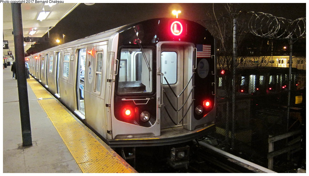 (286k, 1044x595)<br><b>Country:</b> United States<br><b>City:</b> New York<br><b>System:</b> New York City Transit<br><b>Line:</b> BMT Canarsie Line<br><b>Location:</b> Rockaway Parkway <br><b>Route:</b> L<br><b>Car:</b> R-160A-1 (Alstom, 2005-2008, 4 car sets)  8361 <br><b>Photo by:</b> Bernard Chatreau<br><b>Date:</b> 4/8/2011<br><b>Viewed (this week/total):</b> 2 / 509