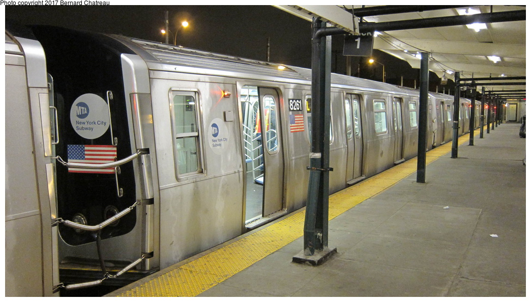 (266k, 1044x595)<br><b>Country:</b> United States<br><b>City:</b> New York<br><b>System:</b> New York City Transit<br><b>Line:</b> BMT Canarsie Line<br><b>Location:</b> Rockaway Parkway <br><b>Route:</b> L<br><b>Car:</b> R-143 (Kawasaki, 2001-2002) 8261 <br><b>Photo by:</b> Bernard Chatreau<br><b>Date:</b> 4/8/2011<br><b>Viewed (this week/total):</b> 1 / 495