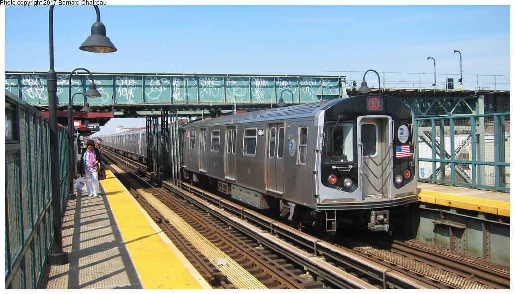 (317k, 1044x595)<br><b>Country:</b> United States<br><b>City:</b> New York<br><b>System:</b> New York City Transit<br><b>Line:</b> BMT Canarsie Line<br><b>Location:</b> Livonia Avenue <br><b>Route:</b> L<br><b>Car:</b> R-160A (Option 1) (Alstom, 2008-2009, 5 car sets)  9264 <br><b>Photo by:</b> Bernard Chatreau<br><b>Date:</b> 4/9/2011<br><b>Viewed (this week/total):</b> 2 / 454