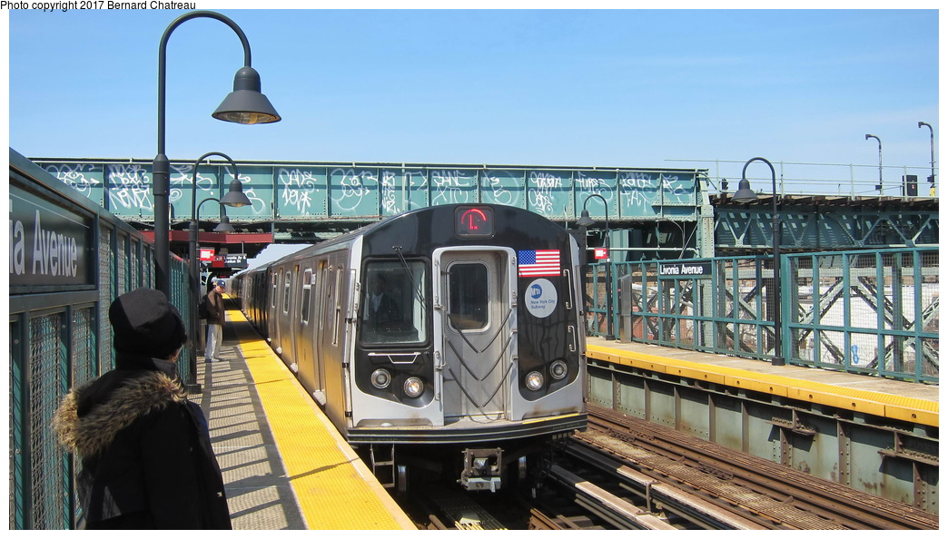 (288k, 1044x594)<br><b>Country:</b> United States<br><b>City:</b> New York<br><b>System:</b> New York City Transit<br><b>Line:</b> BMT Canarsie Line<br><b>Location:</b> Livonia Avenue <br><b>Route:</b> L<br><b>Car:</b> R-160A-1 (Alstom, 2005-2008, 4 car sets)  8325 <br><b>Photo by:</b> Bernard Chatreau<br><b>Date:</b> 4/9/2011<br><b>Viewed (this week/total):</b> 0 / 374