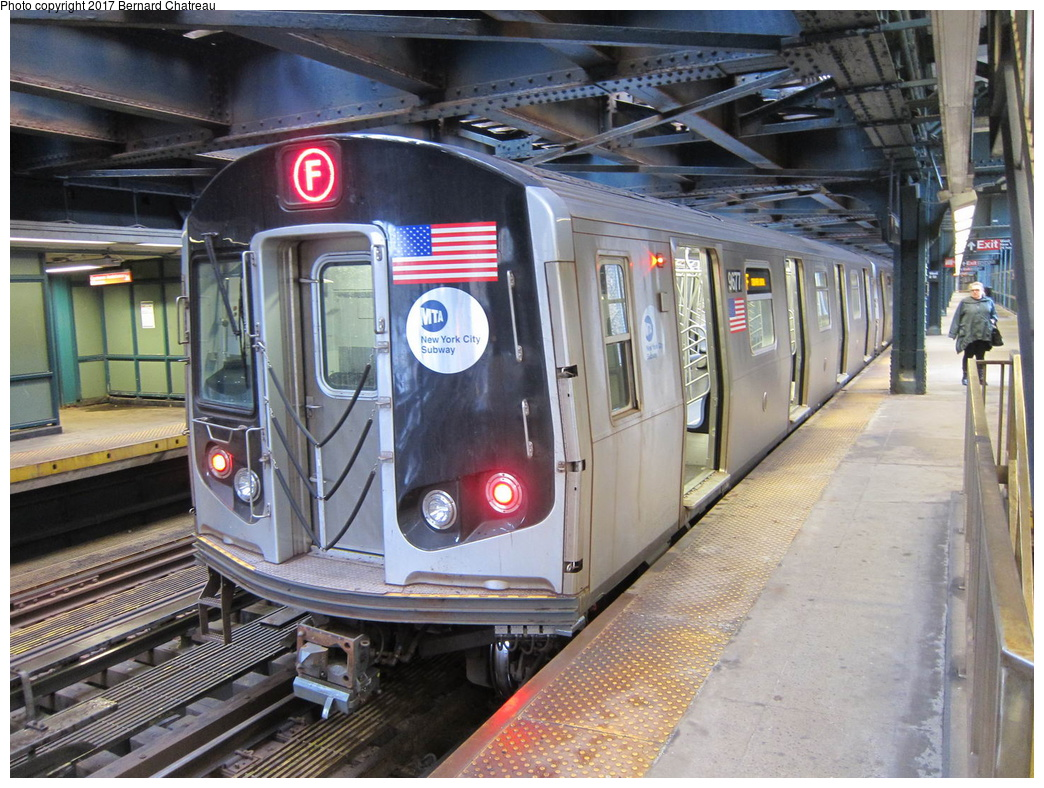 (378k, 1044x788)<br><b>Country:</b> United States<br><b>City:</b> New York<br><b>System:</b> New York City Transit<br><b>Line:</b> BMT Culver Line<br><b>Location:</b> West 8th Street <br><b>Route:</b> F<br><b>Car:</b> R-160A (Option 2) (Alstom, 2009, 5-car sets)  9677 <br><b>Photo by:</b> Bernard Chatreau<br><b>Date:</b> 4/16/2011<br><b>Viewed (this week/total):</b> 1 / 497