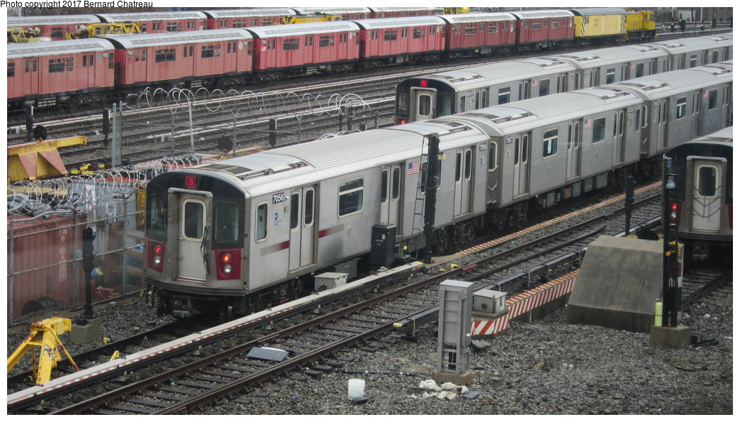 (319k, 1044x595)<br><b>Country:</b> United States<br><b>City:</b> New York<br><b>System:</b> New York City Transit<br><b>Location:</b> Unionport Yard<br><b>Car:</b> R-142 (Option Order, Bombardier, 2002-2003)  7056 <br><b>Photo by:</b> Bernard Chatreau<br><b>Date:</b> 4/12/2011<br><b>Viewed (this week/total):</b> 1 / 507