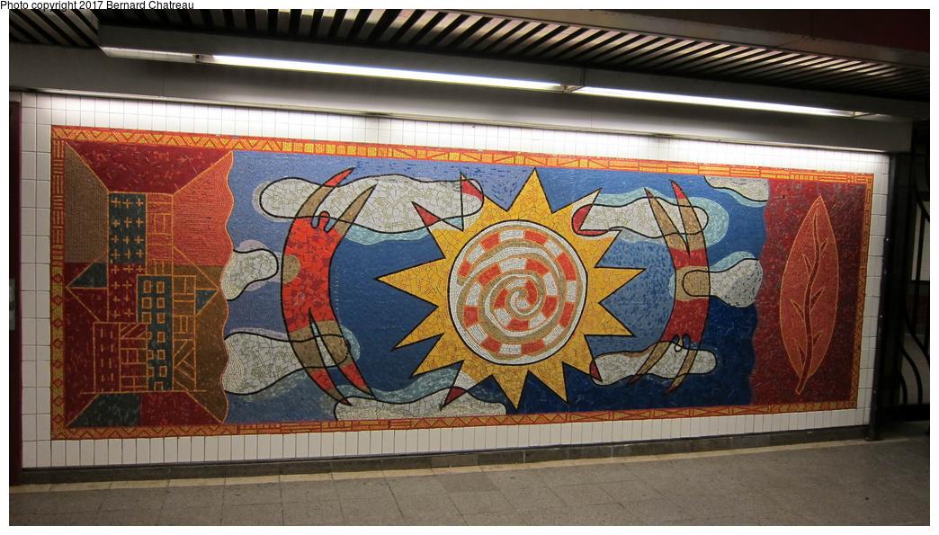 (309k, 1044x595)<br><b>Country:</b> United States<br><b>City:</b> New York<br><b>System:</b> New York City Transit<br><b>Line:</b> IRT White Plains Road Line<br><b>Location:</b> 3rd Avenue/149th Street <br><b>Photo by:</b> Bernard Chatreau<br><b>Date:</b> 9/24/2011<br><b>Artwork:</b> <i>Una Raza, Un Mundo, Universo (One Race, One World, One Universe)</i>, Jose Ortega (1996).<br><b>Viewed (this week/total):</b> 8 / 264