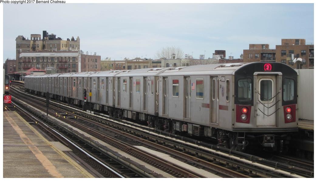 (230k, 1044x595)<br><b>Country:</b> United States<br><b>City:</b> New York<br><b>System:</b> New York City Transit<br><b>Line:</b> IRT White Plains Road Line<br><b>Location:</b> Intervale Avenue <br><b>Route:</b> 2<br><b>Car:</b> R-142 (Option Order, Bombardier, 2002-2003)  6986 <br><b>Photo by:</b> Bernard Chatreau<br><b>Date:</b> 4/12/2011<br><b>Viewed (this week/total):</b> 1 / 553
