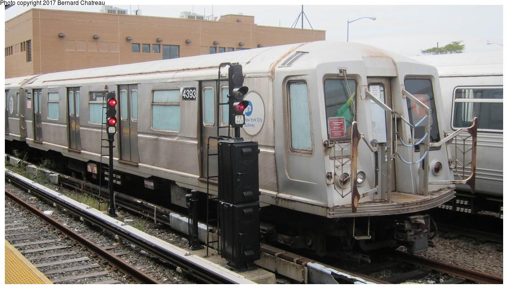 (260k, 1044x594)<br><b>Country:</b> United States<br><b>City:</b> New York<br><b>System:</b> New York City Transit<br><b>Location:</b> Rockaway Park Yard<br><b>Car:</b> R-40 (St. Louis, 1968)  4393 <br><b>Photo by:</b> Bernard Chatreau<br><b>Date:</b> 9/25/2011<br><b>Viewed (this week/total):</b> 3 / 521