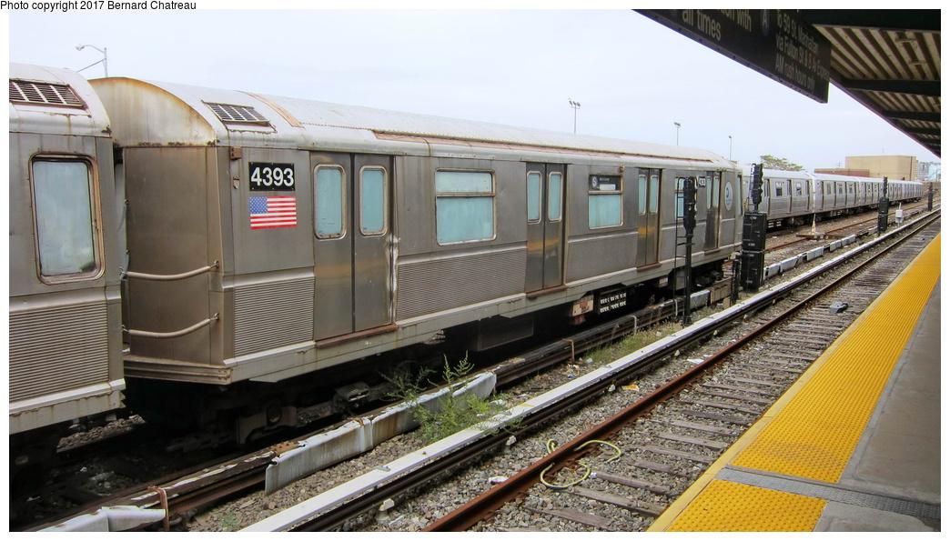 (282k, 1044x595)<br><b>Country:</b> United States<br><b>City:</b> New York<br><b>System:</b> New York City Transit<br><b>Location:</b> Rockaway Park Yard<br><b>Car:</b> R-40 (St. Louis, 1968)  4393 <br><b>Photo by:</b> Bernard Chatreau<br><b>Date:</b> 9/25/2011<br><b>Viewed (this week/total):</b> 0 / 444