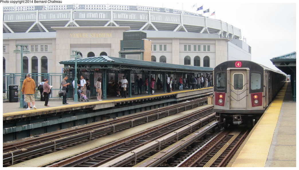 (285k, 1044x594)<br><b>Country:</b> United States<br><b>City:</b> New York<br><b>System:</b> New York City Transit<br><b>Line:</b> IRT Woodlawn Line<br><b>Location:</b> 161st Street/River Avenue (Yankee Stadium) <br><b>Route:</b> 4<br><b>Car:</b> R-142 (Option Order, Bombardier, 2002-2003)  7076 <br><b>Photo by:</b> Bernard Chatreau<br><b>Date:</b> 9/23/2011<br><b>Viewed (this week/total):</b> 0 / 428