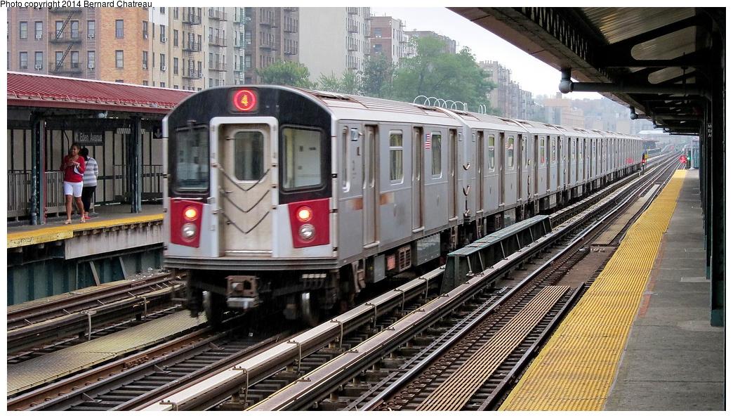 (354k, 1044x595)<br><b>Country:</b> United States<br><b>City:</b> New York<br><b>System:</b> New York City Transit<br><b>Line:</b> IRT Woodlawn Line<br><b>Location:</b> Mt. Eden Avenue <br><b>Route:</b> 4<br><b>Car:</b> R-142 or R-142A (Number Unknown) 77xx <br><b>Photo by:</b> Bernard Chatreau<br><b>Date:</b> 9/23/2011<br><b>Viewed (this week/total):</b> 2 / 478