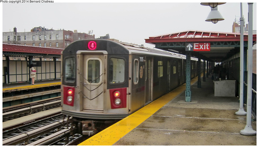(276k, 1044x595)<br><b>Country:</b> United States<br><b>City:</b> New York<br><b>System:</b> New York City Transit<br><b>Line:</b> IRT Woodlawn Line<br><b>Location:</b> 183rd Street <br><b>Route:</b> 4<br><b>Car:</b> R-142 (Option Order, Bombardier, 2002-2003)  7175 <br><b>Photo by:</b> Bernard Chatreau<br><b>Date:</b> 9/23/2011<br><b>Viewed (this week/total):</b> 2 / 489