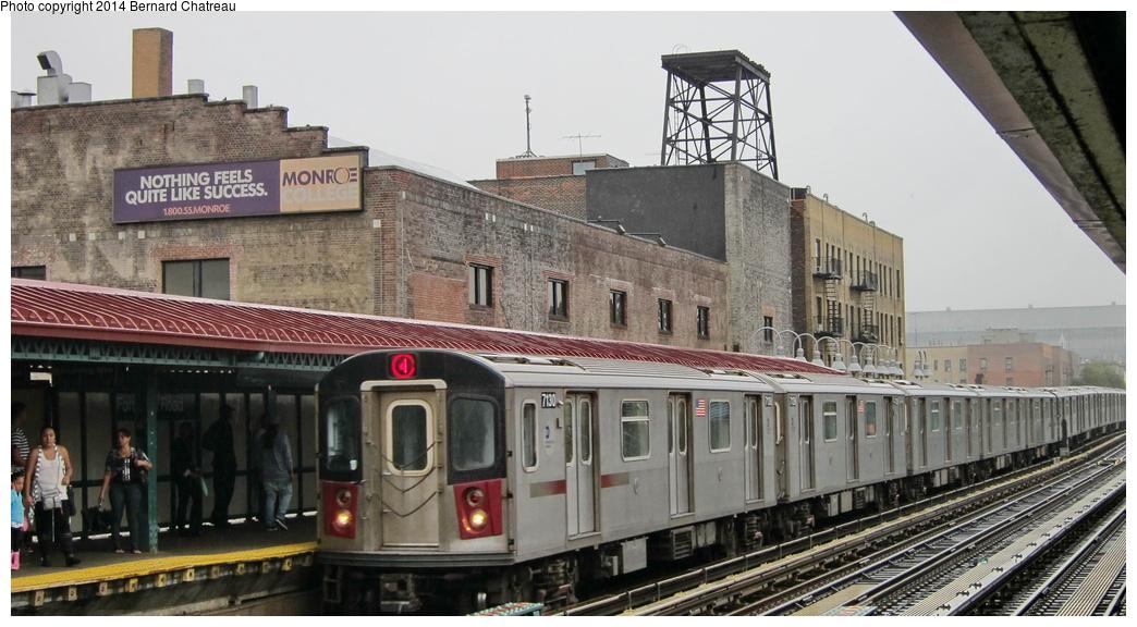 (262k, 1044x576)<br><b>Country:</b> United States<br><b>City:</b> New York<br><b>System:</b> New York City Transit<br><b>Line:</b> IRT Woodlawn Line<br><b>Location:</b> Fordham Road <br><b>Route:</b> 4<br><b>Car:</b> R-142 (Option Order, Bombardier, 2002-2003)  7130 <br><b>Photo by:</b> Bernard Chatreau<br><b>Date:</b> 9/23/2011<br><b>Viewed (this week/total):</b> 1 / 490