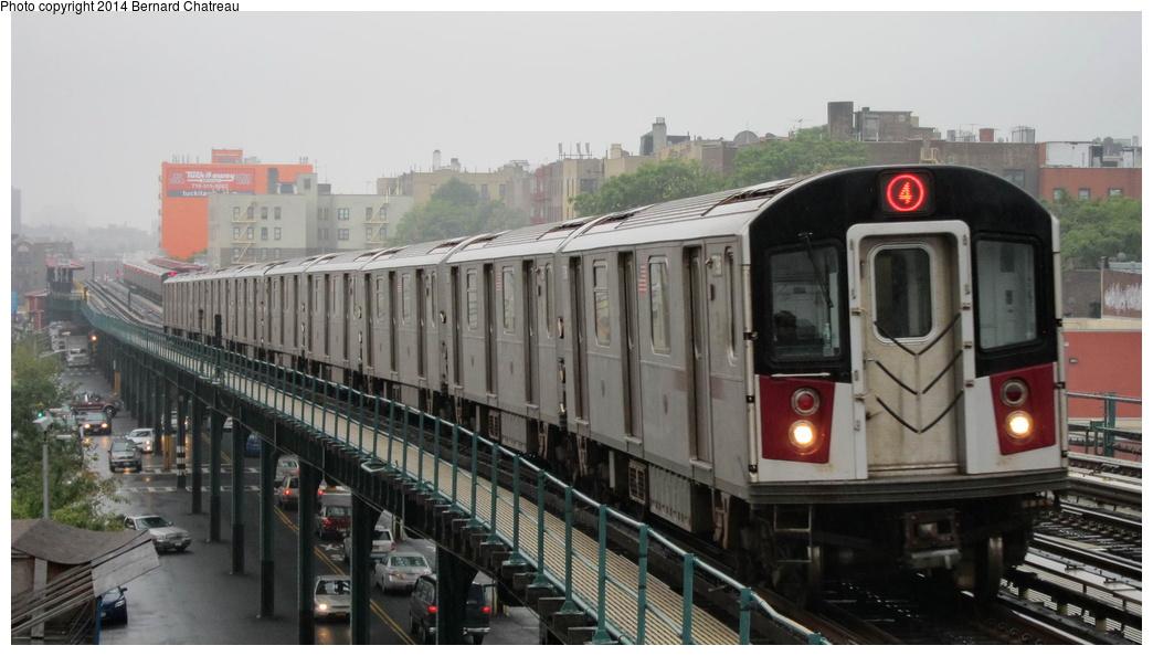 (224k, 1044x594)<br><b>Country:</b> United States<br><b>City:</b> New York<br><b>System:</b> New York City Transit<br><b>Line:</b> IRT Woodlawn Line<br><b>Location:</b> Fordham Road <br><b>Route:</b> 4<br><b>Car:</b> R-142A (Supplemental Order, Kawasaki, 2003-2004)  7796 <br><b>Photo by:</b> Bernard Chatreau<br><b>Date:</b> 9/23/2011<br><b>Viewed (this week/total):</b> 2 / 455