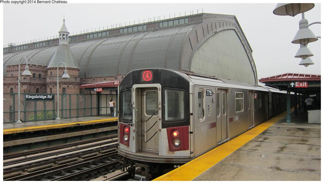 (243k, 1044x595)<br><b>Country:</b> United States<br><b>City:</b> New York<br><b>System:</b> New York City Transit<br><b>Line:</b> IRT Woodlawn Line<br><b>Location:</b> Kingsbridge Road <br><b>Route:</b> 4<br><b>Car:</b> R-142A (Option Order, Kawasaki, 2002-2003)  7715 <br><b>Photo by:</b> Bernard Chatreau<br><b>Date:</b> 9/23/2011<br><b>Viewed (this week/total):</b> 2 / 475