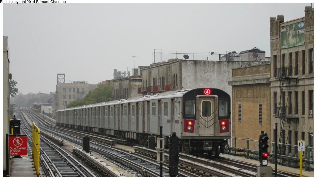 (226k, 1044x594)<br><b>Country:</b> United States<br><b>City:</b> New York<br><b>System:</b> New York City Transit<br><b>Line:</b> IRT Woodlawn Line<br><b>Location:</b> Kingsbridge Road <br><b>Route:</b> 4<br><b>Car:</b> R-142 (Option Order, Bombardier, 2002-2003)  1185 <br><b>Photo by:</b> Bernard Chatreau<br><b>Date:</b> 9/23/2011<br><b>Viewed (this week/total):</b> 4 / 505