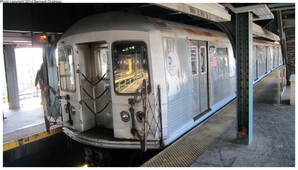(267k, 1044x595)<br><b>Country:</b> United States<br><b>City:</b> New York<br><b>System:</b> New York City Transit<br><b>Line:</b> BMT Nassau Street/Jamaica Line<br><b>Location:</b> Broadway/East New York (Broadway Junction) <br><b>Route:</b> J<br><b>Car:</b> R-42 (St. Louis, 1969-1970)  4814 <br><b>Photo by:</b> Bernard Chatreau<br><b>Date:</b> 4/9/2011<br><b>Viewed (this week/total):</b> 1 / 467