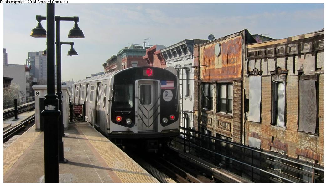 (257k, 1044x594)<br><b>Country:</b> United States<br><b>City:</b> New York<br><b>System:</b> New York City Transit<br><b>Line:</b> BMT Nassau Street/Jamaica Line<br><b>Location:</b> Myrtle Avenue <br><b>Route:</b> M<br><b>Car:</b> R-160A/R-160B Series (Number Unknown)  <br><b>Photo by:</b> Bernard Chatreau<br><b>Date:</b> 4/11/2011<br><b>Viewed (this week/total):</b> 2 / 355
