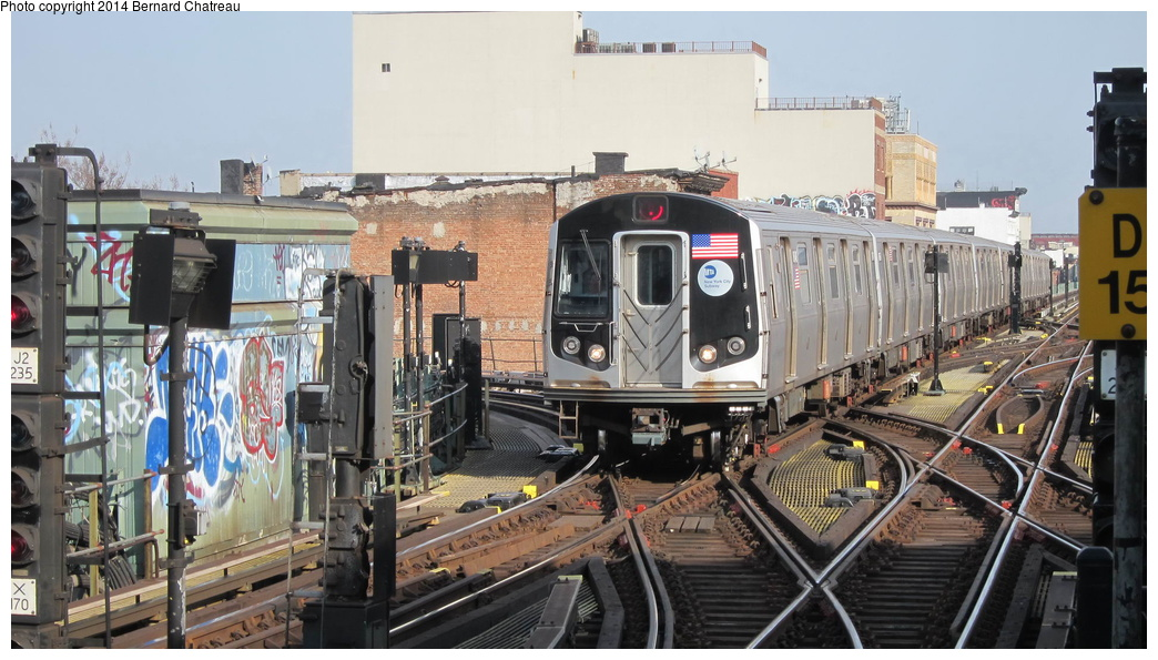 (287k, 1044x595)<br><b>Country:</b> United States<br><b>City:</b> New York<br><b>System:</b> New York City Transit<br><b>Line:</b> BMT Nassau Street/Jamaica Line<br><b>Location:</b> Myrtle Avenue <br><b>Route:</b> J<br><b>Car:</b> R-160A-1 (Alstom, 2005-2008, 4 car sets)  8649 <br><b>Photo by:</b> Bernard Chatreau<br><b>Date:</b> 4/11/2011<br><b>Viewed (this week/total):</b> 1 / 480