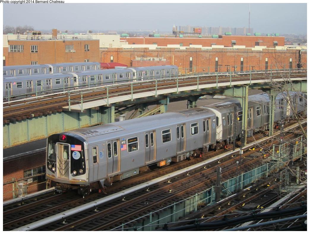 (379k, 1044x788)<br><b>Country:</b> United States<br><b>City:</b> New York<br><b>System:</b> New York City Transit<br><b>Line:</b> BMT Nassau Street/Jamaica Line<br><b>Location:</b> Broadway/East New York (Broadway Junction) <br><b>Route:</b> J<br><b>Car:</b> R-160A-1 (Alstom, 2005-2008, 4 car sets)  8412 <br><b>Photo by:</b> Bernard Chatreau<br><b>Date:</b> 4/11/2011<br><b>Viewed (this week/total):</b> 0 / 491