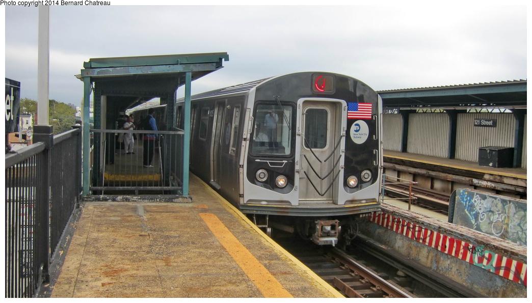 (258k, 1044x595)<br><b>Country:</b> United States<br><b>City:</b> New York<br><b>System:</b> New York City Transit<br><b>Line:</b> BMT Nassau Street/Jamaica Line<br><b>Location:</b> 121st Street <br><b>Route:</b> J<br><b>Car:</b> R-160A-1 (Alstom, 2005-2008, 4 car sets)  8325 <br><b>Photo by:</b> Bernard Chatreau<br><b>Date:</b> 9/28/2011<br><b>Viewed (this week/total):</b> 1 / 584