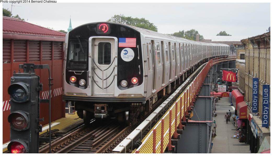 (264k, 1044x595)<br><b>Country:</b> United States<br><b>City:</b> New York<br><b>System:</b> New York City Transit<br><b>Line:</b> BMT Nassau Street/Jamaica Line<br><b>Location:</b> Woodhaven Boulevard <br><b>Route:</b> J<br><b>Car:</b> R-160A/R-160B Series (Number Unknown)  <br><b>Photo by:</b> Bernard Chatreau<br><b>Date:</b> 9/28/2011<br><b>Viewed (this week/total):</b> 1 / 380